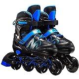 YIKUN Inline Skates Up Fitness Beginners, Adjustable Inliner Roller Skates Light Up Fitness Beginners Outdoor Kids Men Women Full Flash Roller Shoes Outdoor Pu High Elastic Wear Wheel,Blue,L