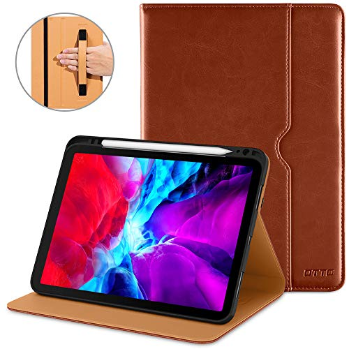 DTTO New iPad Pro 11 Case 2nd Generation 2020&2018, Premium PU Leather Business Folio Stand Cover [Apple Pencil Pair and Charge Supported] - Auto Wake/Sleep and Multiple Viewing Angles, Brown