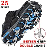 Crampons Ice Cleats Traction Snow Grips for Boots Shoes Women Men Kids Anti Slip 18 Stainless Steel Spikes Safe Protect for Hiking Fishing Walking Climbing Mountaineering (Medium)
