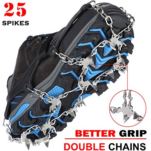 Crampons Ice Cleats Traction Snow Grips for Boots Shoes Women Men Kids Anti Slip 18 Stainless Steel Spikes Safe Protect for Hiking Fishing Walking Climbing Mountaineering (X-Large)