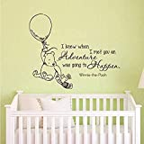 Winnie The Pooh Knows which Adventure Wall Stickers I am Going to Meet for Home Decoration Wall Decal Art Stickers 43 * 101cm (Black)