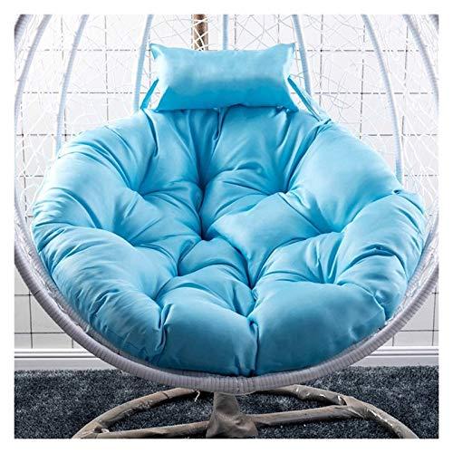 Cojines de silla mecedora para colgar, cojines redondos acolchados, columpio de mimbre suave y relleno para exteriores, cojines para sillas colgantes de jardín, color azul cielo, 120 x 120 cm