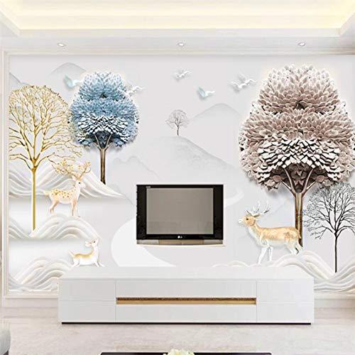 Tapete - Premium-Tapete - Wanddekoration - Wandrelief dreidimensionale moderne minimalistische Landschaft Elch reichen Baum TV-Hintergrund-250x175cm