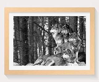 狼パック -動物 -#24659 - 木製フォトフレーム 写真フレーム 木製 の枠 装飾画 壁掛け 壁飾り 壁ポスター 木製タグ おしゃれ ウォールアート アートパネル 壁の絵 インテリア絵画 額縁 部屋飾り 贈り物 プレゼント 黒と白 横 40×60cm