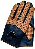 Riparo Men's Touchscreen Texting Half Mesh Perforated Summer Driving Motorcycle Leather Gloves (Medium, Black/Cognac)
