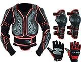 Protección para niños de motocicleta de motocross con protector de espalda, ideal para actividades deportivas con rodillera y guante duro para nudillos