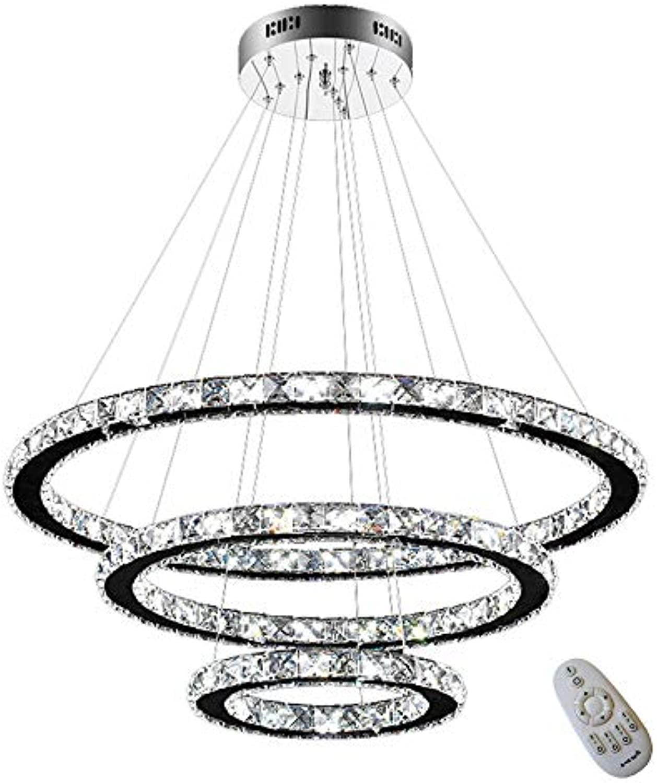 HENGMEI LED Kronleuchter Hngelampe Kristall Pendelleuchte 72W Dimmbar Deckenleuchte Hngeleuchte Drei Ringe (Dimmbar, 72W)