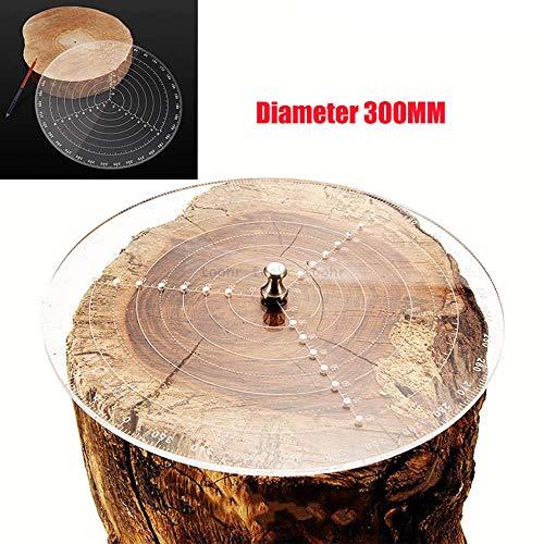 Herramienta de buscador central Brújula de carpintería para torneros de madera Tazones Torno Trabajo Acrílico transparente Círculos de dibujo Diámetro 300MM