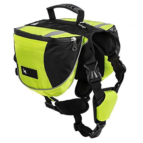 Hunderucksack Satteltasche für Mittlere & Große Hunde - Packtaschen Rucksack Reflektierende Wasserdicht für Reisen Camping Wandern Ausbildung Geschirr Verstellbare Kabelbaumweste mit Griff (L, Grün)