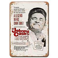 ジョニーキャッシュ映画ポスター、ヴィンテージメタルウォールアート1969ジョニー-バーマン洞窟コーヒーの家の装飾のための現金映画ブリキの看板8x12インチ