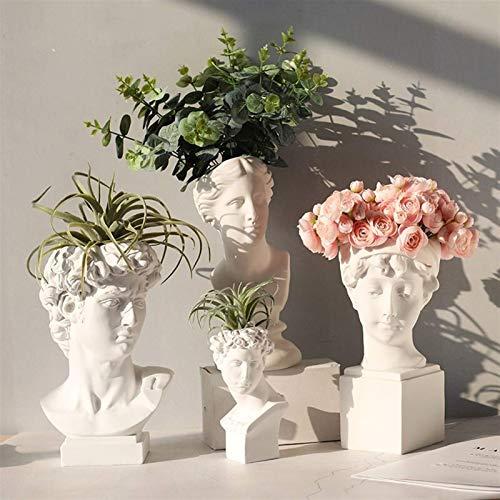 Blumenvase Kreative Porträtvase Menschlicher Kopf Dekorative Ornamente Harz David Medici Venus Vase Wohnkultur (Farbe: E)
