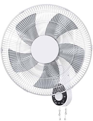Wall Mount Fan, 16' High Velocity Wall Fan with 5 Blades, 3 Speeds, 90° Oscillating, Adjustable Tilt, ETL Certified for Bedroom, Office, Warehouse, Workshop, Patio, and Basement