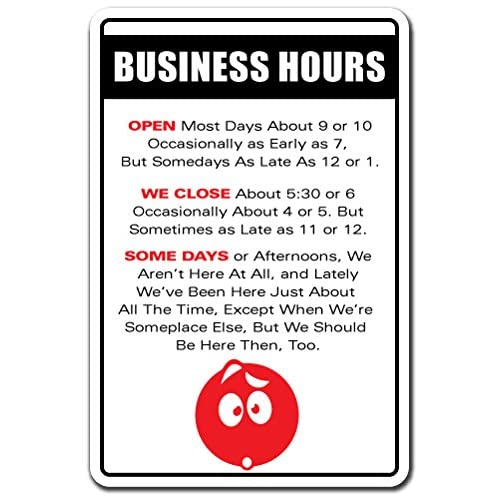 Amazon Business Hours Novelty Sign