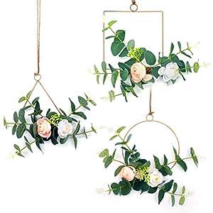 Silk Flower Arrangements Amzwax Floral Hoop Wreath Set of 3 Artificial Flower Hanging Wall Hoop Garland Nursery Wall Decor for Wedding(Camellia with Rose)