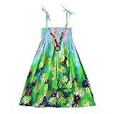 JUTOO Säuglingskindermädchenbaby-Kleidungs-Nationale Art mit Blumenböhmisches Strandgurt-Kleid (Grün,130)