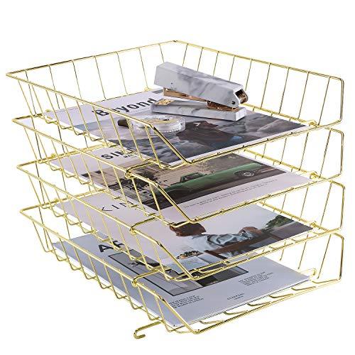 Stapelbares Briefkasten, 4-Tier Desk File Organizer für Mails, Magazine, Dokumente und Zubehör, Drahtpapierfach für Zuhause, Schule und Büro, Gold