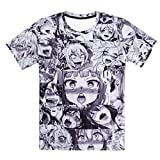 Bsrale Anime Ahegao 3D Divertido por Todas Las Sudaderas con Capucha Joggers Hipster Ropa de Dibujos Animados Sexy Street Wear ahegao t Shirt-XL