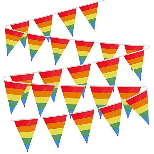 VINFUTUR Bandera Decorativa Fiesta, 1 Juego de Bandera Arcoiris Banderín Orgullo Gay LGBT Guirnalda de Banderin Colores Banner Arcoiris Material para Decoración Exterior Interior-18 * 27cm