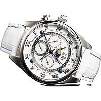【JMW TOKYO】腕時計 メンズ ホワイト&シルバー上級「ムーンフェイズ 」本革 ベルト ローマ数字 インデックス 100m 防水 タキメーター (ムーブメント シチズン)【世界限定300本】