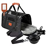 ZENAPOKI Pet Carrier Airline Approved - Soft-Sided Cat Carrier, Small Dog Carrier, Puppy Carrier - Pet Carrier Bag with Pet Supplies - Black Foldable Bowl and Bags Dispenser