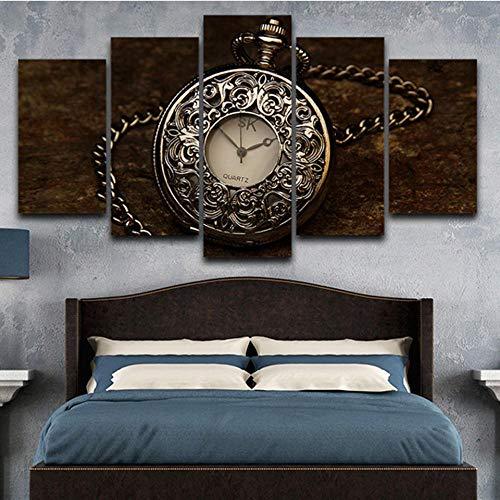 mychoose Cuadro sobre Lienzo para Pared, decoración del hogar, 5 Paneles, Reloj de Bolsillo Vintage, imágenes modulares, Impresiones en HD, póster para Sala de Estar