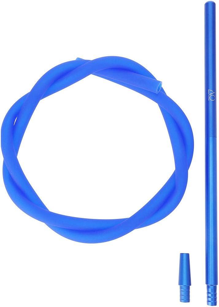 AO Shisha Schlauch Set ALU Mundstück 40cm Komplettset | Silikonschlauch Matt | Inclusive conexión de Manguera (azúl)