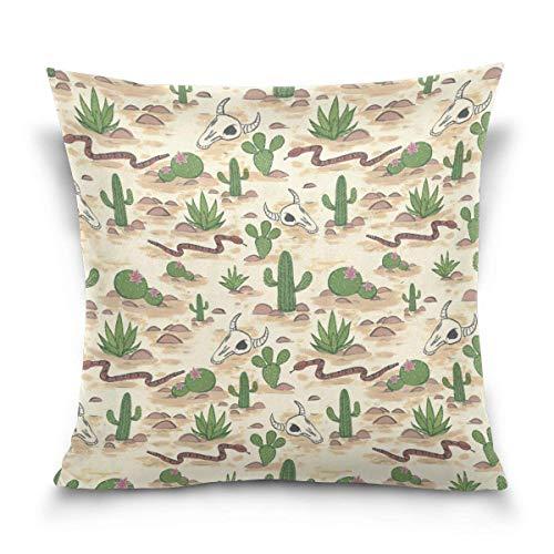 Deglogse Square Pillowcase Desert Cactus Pattern Velvet Throw Pillow Cushion Case Cover Invisible Zipper Home Decor for Couch Sofa Car No Pillow Insert