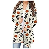 Halloween Hoodies for Women, Pumpkin Face Print Shirts Long Sleeved Hooded Sweatshirt Casual Blouse Pullover Blouses Womens Going Out Tops Loose Summer Shirts for Women(B2-Beige,S)