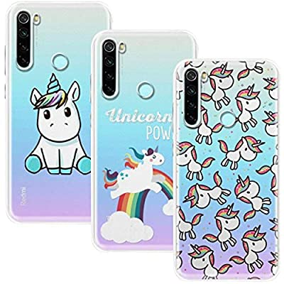 Young & Ming Funda para Xiaomi Redmi Note 8, (3 Pack) Transparente TPU Silicona Carcasa Delgado Antigolpes Resistente, Unicornio