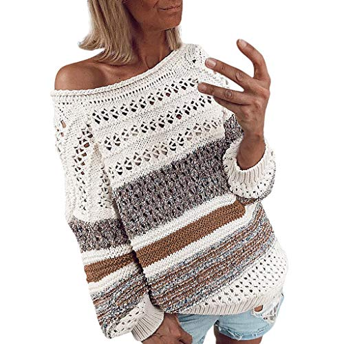 Best Deals! Gleamfut Women's Stripe Printed Knitted Blouse Loose O-Neck Long Sleeve Hollow Out Sweat...