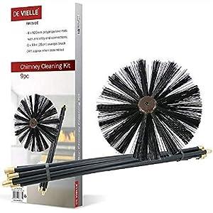 De Vielle - Conjunto de Limpieza para Chimenea, metálico, Color Negro, 9 Piezas