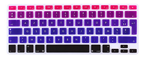 MMDW EU/UK French AZERTY Language Keyboard Cover for Macbook Pro 13 Inch,15 Inch(with or without Retina Display,2015 or Older Version) Old Air 13 European/ISO Keyboard Silicone Skin-Ombre Purple