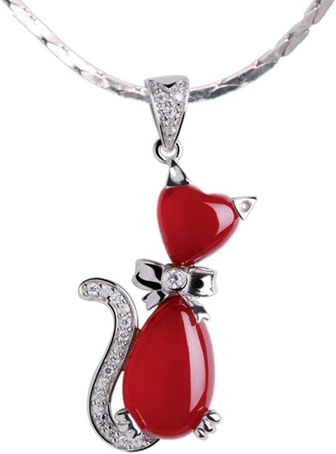 ZHANGJINYISHOP2016 Jewelry Necklaces Cat Shape Red Agate Pendant