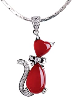 Necklace Cat Shape Red Agate Pendant Necklace Clavicle Chain With 925 Silver Necklace Women's Jewelry Necklace Holiday Gif...