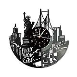 Smotly Orologio da Parete in Vinile, New York Tema architettonico Orologio Record di Muro, Fatto a Mano Creativo Decorazione Regalo Orologio da Parete.