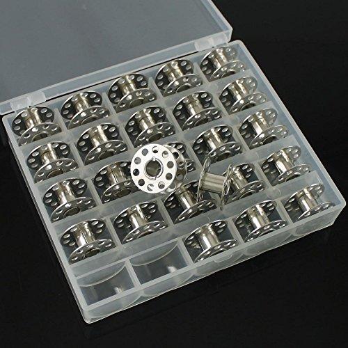 Yontree 25 Pcs Canettes Bobine Navette Fil + Boîte Rangement Pour Machine à Coudre (métal)