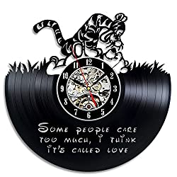 Winnie The Pooh Vinyl Record Wall Clock - Decorate Your Home with Modern Large Disney Art - Gift for Kids, Girls and Boys