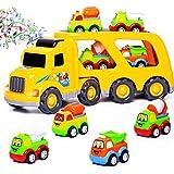 Spielzeug-Truck-Auto-Transporter, Spielzeug für Jungen mit 4 Reibungsautos, Kipplaster,...