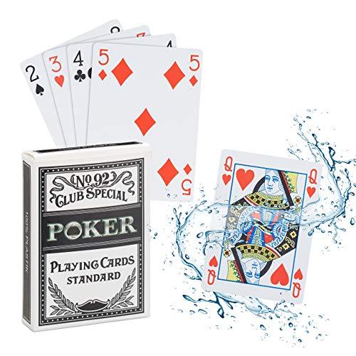 Relaxdays Cartas Póker Impermeables, Baraja Resistente al Agua, 54 Naipes, Texas Hold'em, Profesional, Plástico, 1 Ud, Multicolor (10023628)