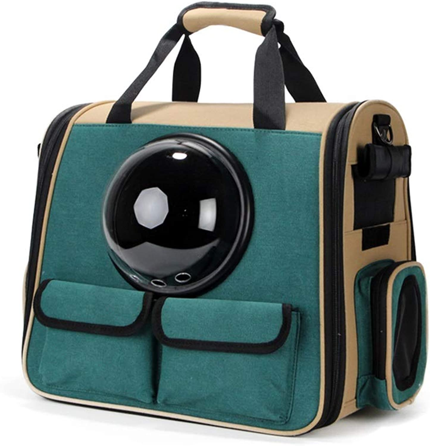 Pet Backpack Space Bag Outgoing Carrying Case Shoulder Bags Dog Bags Cat Cage (color   Green, Size   40X26X36cm)