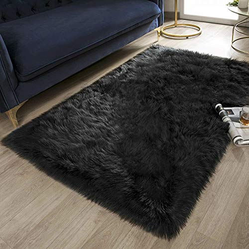 Ashler Soft Faux Rectangle Fur Chair Couch Cover Black Area Rug for Bedroom Floor Sofa Living Room Rectangle 3 x 5 Feet