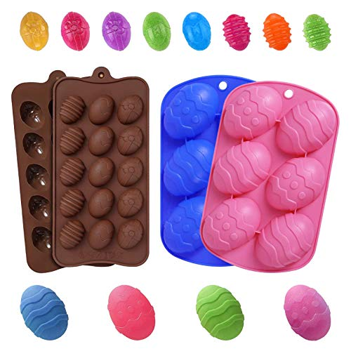 4 Pack Easter Silicone Egg Molds for Baking Chocolate Cookies Ice Cream Jelly Candy Fondant Soap