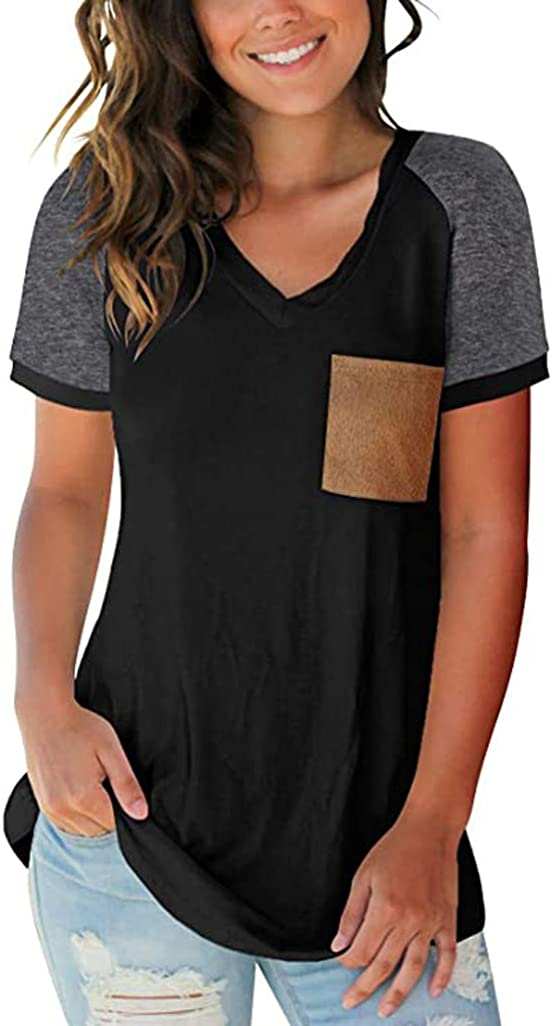FABIURT Women Summer Tops,Womens Fashion Color Block Short Sleeve V Neck T Shirts Casual Blouse Tunic Tops with Pocket