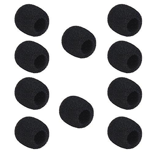 Andoer Couvre-mousse en Microfibre Filtres Anti-Pop Mic Vent Bruit pour Casque Pare-brise avec Micro-cravate noir Paquet de 10 pcs (Petit)