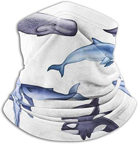 Not applicable Blauwal Sperma Delfin Killer Tiere Wildlife Fleece Nackenwärmer Winter Winddicht Ski Gesichtsmaske Sturmhaube Halbmaske Für Frauen Männer