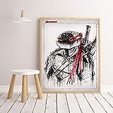olwonow DIY Juego de Pintura Digital FC película Caliente Personaje de Anime protagonista Tortuga Ninja Acuarela para habitación Infantil decoración de Arte 40x50 cm sin Marco