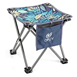 OPLIY Camping Stool,Portable Folding Stool 13.5 inch Camp Stool for Camping Fishing Hiking Gardening and Beach, Camping Seat with Carry Bag (Blue -Leaf, L 13.5')