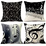 Music Pillow Covers 18x18 Inches Set of 4 Decoration Covers Black and White Note Piano with Letters Pillow Cases Cushion Cover Bed Cotton Linen