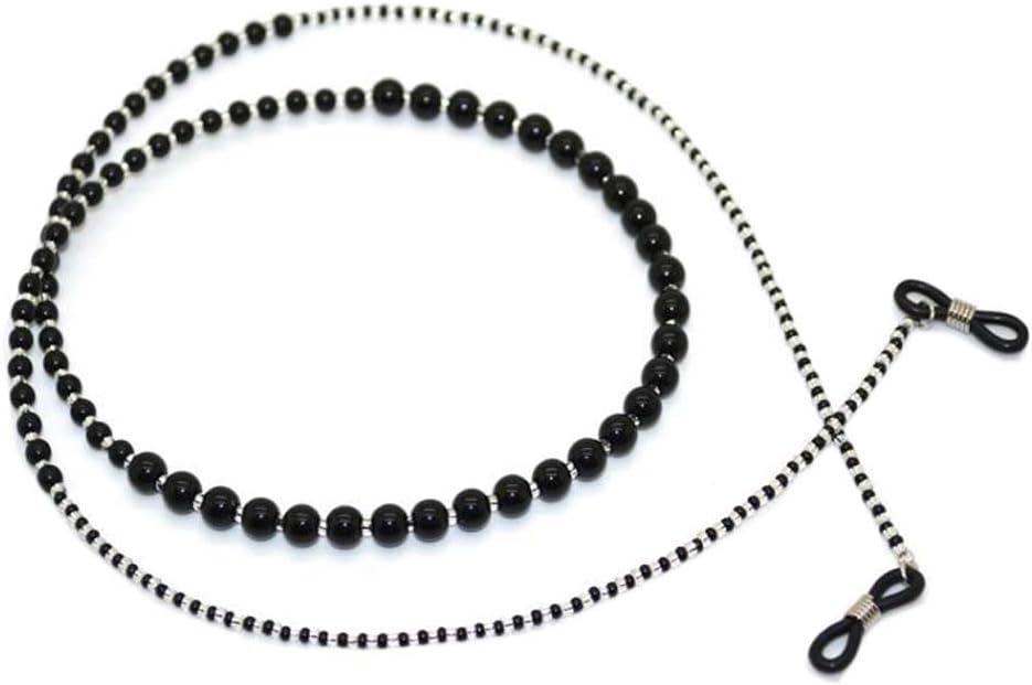 Black Acrylic White Glass Beads Eyeglass Chain Sunglasses Eyewear Holder Strap Classic Reading Glasses Chain for Women