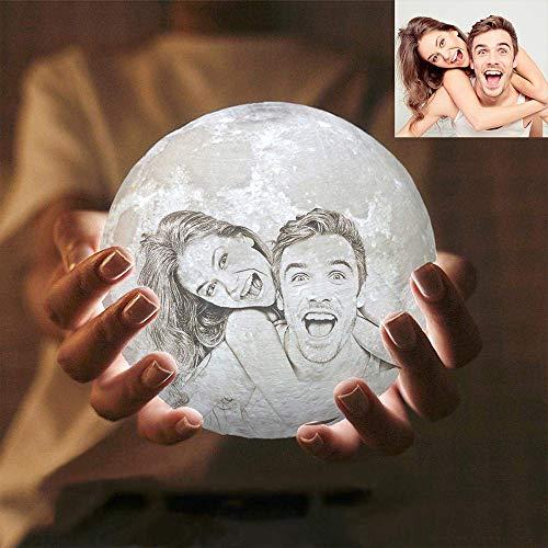 LEEFISH 3D Personalizado Lámpara De Luna, Personalizado Foto Y Texto Luna Luz De Noche, Lámpara De Luna Llena, LED Lámpara De Mesa Lunar, Niños Amante Cumpleaños Fiesta/Navidad Regalo,15CM